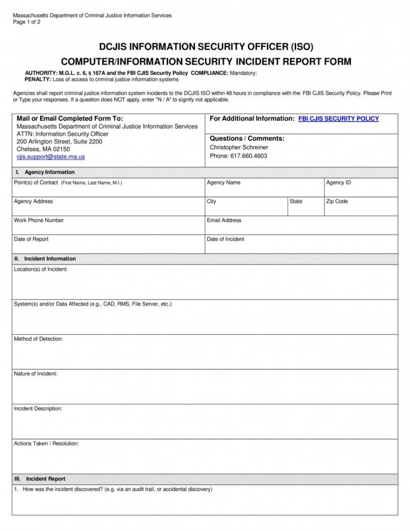 free security incident report template ~ addictionary cyber security incident report template pdf