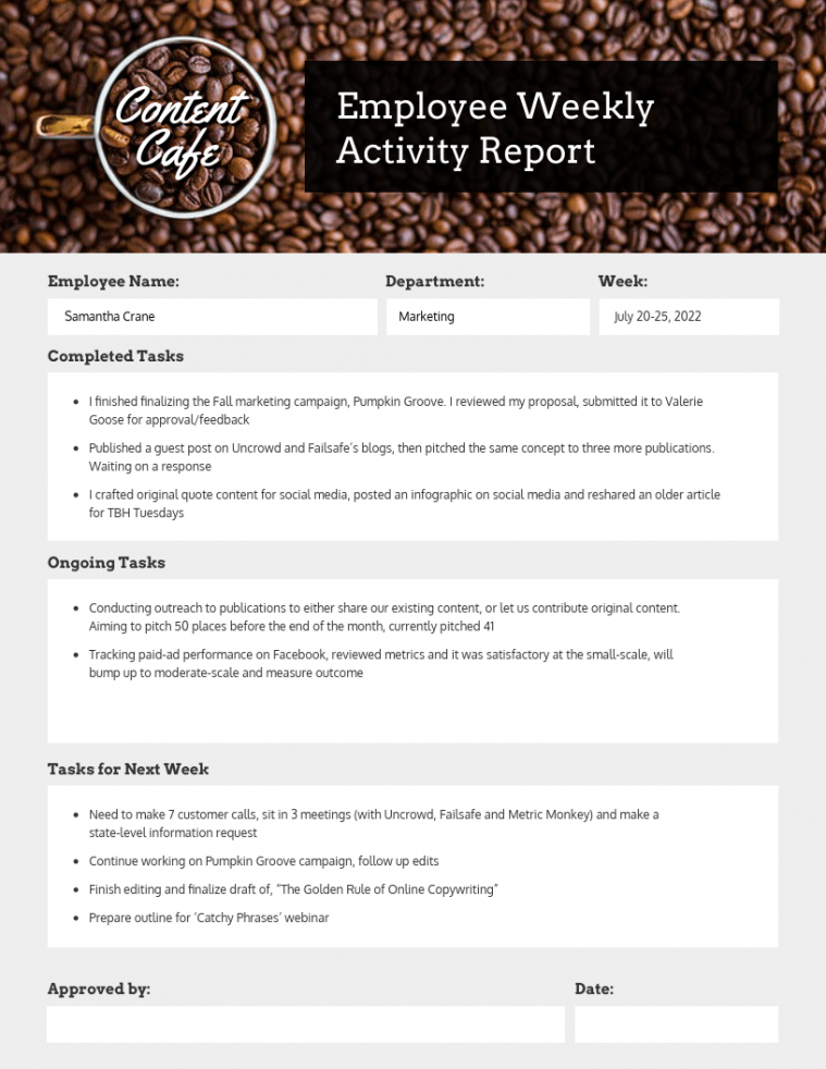 printable employee weekly status report employee weekly report template sample