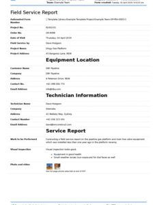 printable field service report template better format than word field service report template example