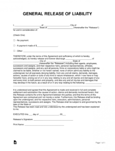 printable free release of liability hold harmless agreement template general liability release of claims template pdf
