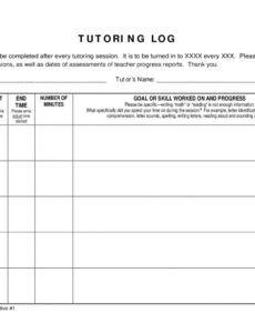 printable template  multi day tutoring log  logs  progress report tutoring progress report template pdf