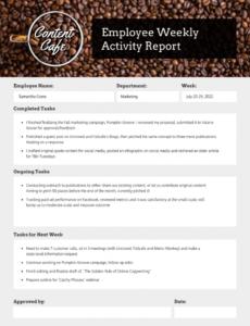 sample employee weekly status report weekly staff report template