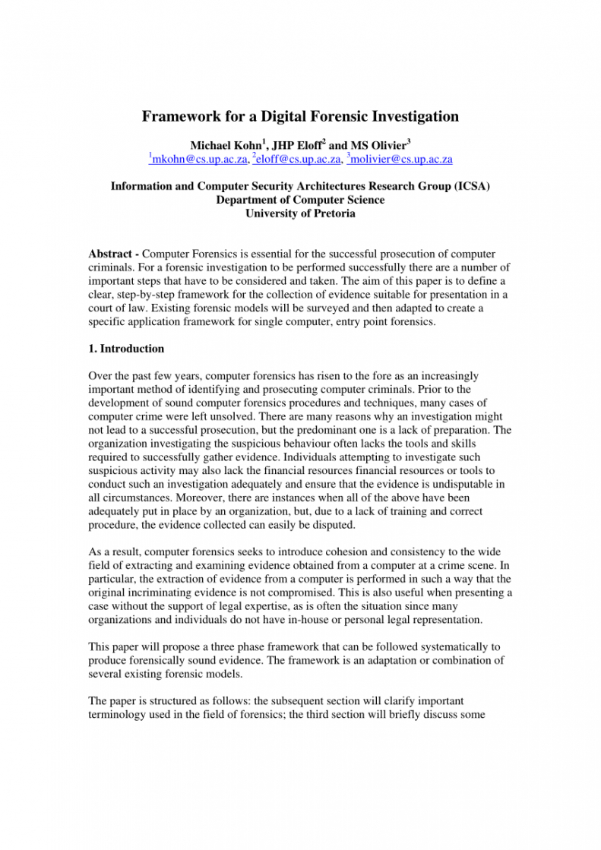sample pdf framework for a digital forensic investigation computer forensic report template pdf