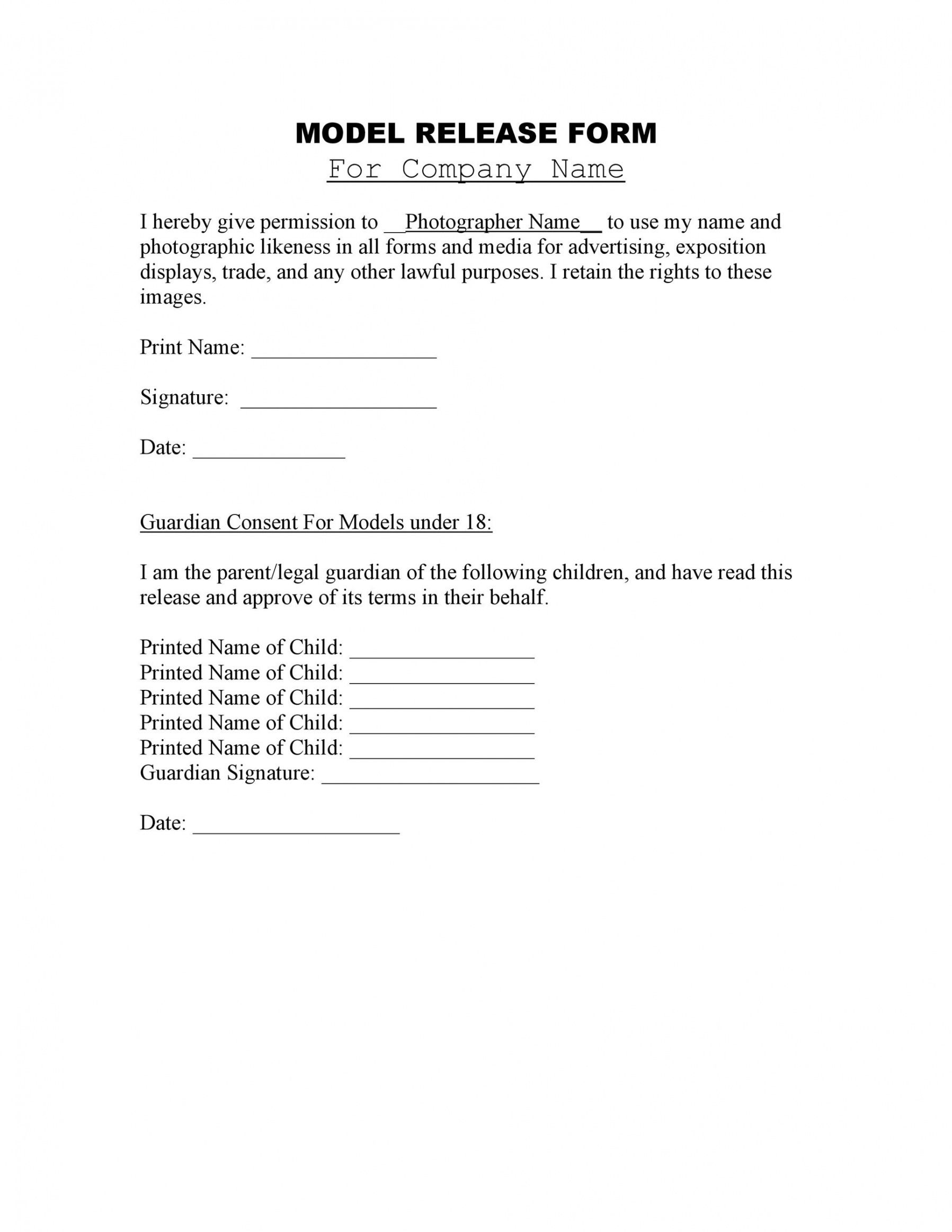 50 best model release forms free templates  templatelab model photo release form template excel