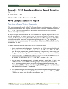 editable npms compliance review report template update 2 compliance report template example