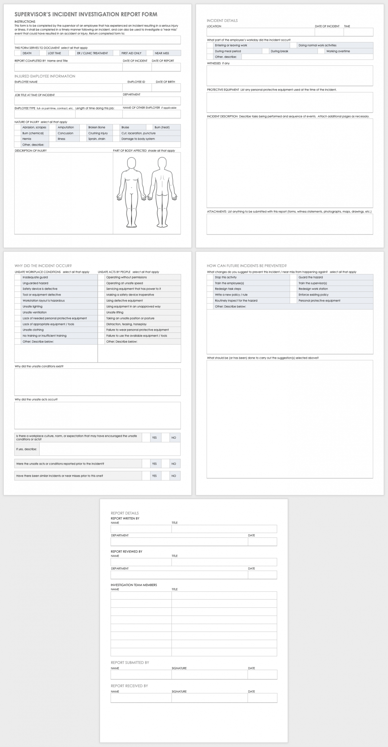 free workplace accident report templates  smartsheet incident investigation report form template