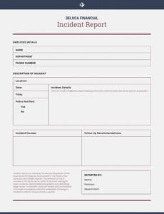 sample how to write an effective incident report  templates injury report form template excel