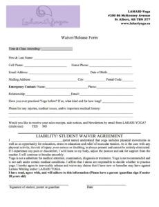 waiver print off — lahari yoga yoga release form template example