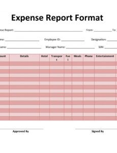 Editable Business Travel Expense Report Template Excel Example