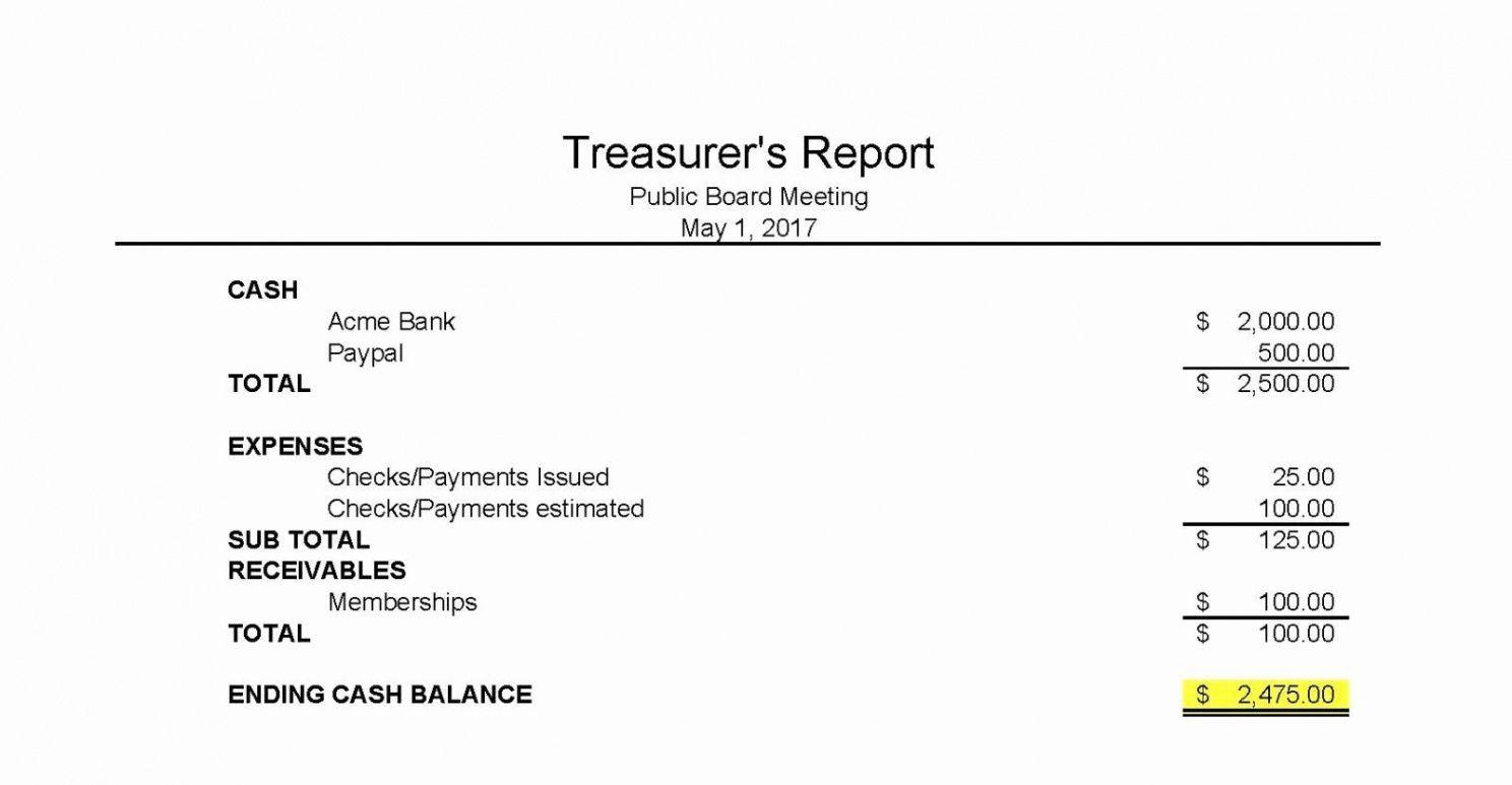 Editable Non Profit Treasurer Report Template Word Sample