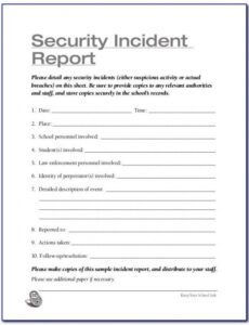 Professional Security Guard Incident Report Template  Example