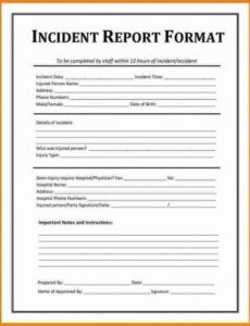 Professional Security Guard Incident Report Template Pdf Example