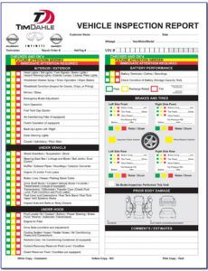 Costum Driver Vehicle Inspection Report Template Doc Example