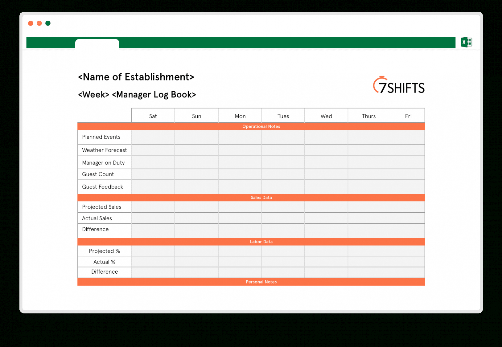 Costum Restaurant Daily Sales Report Template Excel Sample