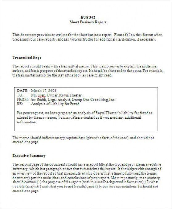 Formal Business Report Template  Example