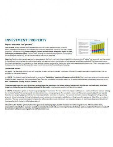 Investment Report Template Excel Example