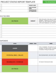 Printable It Project Status Report Template Excel