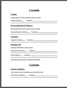 Printable Residential Inspection Report Template Word