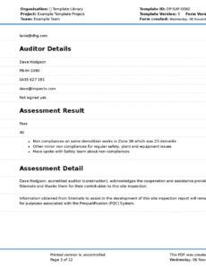 Professional Project Inspection Report Template Excel Example