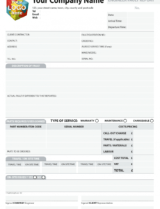Professional Technical Service Report Template Word Sample