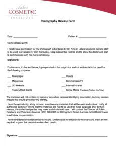Free School Social Media Photo Release Form Template