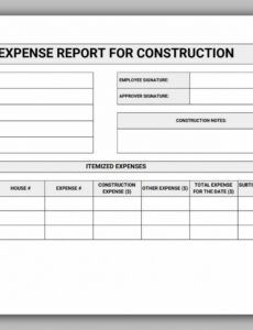 Professional Construction Expense Report Template Doc Sample