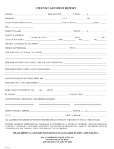 Editable Accident Injury Report Form Template Doc Example