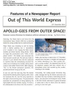 Free Newspaper Book Report Template Pdf