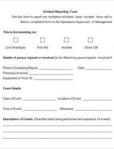 Printable Work Injury Report Form Template Doc Sample