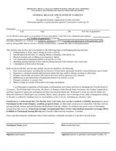 Best General Release Of Liability Form Template Excel Sample