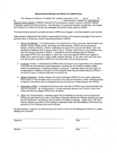 Best Personal Liability Release Form Template Excel Example