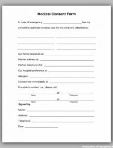 Child Medical Release Form Template  Example