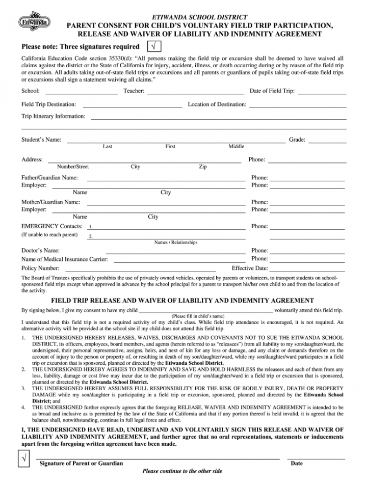 Costum Hunting Release Of Liability Form Template