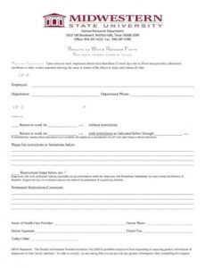 Costum Medical Release Form To Return To Work Template Doc Sample