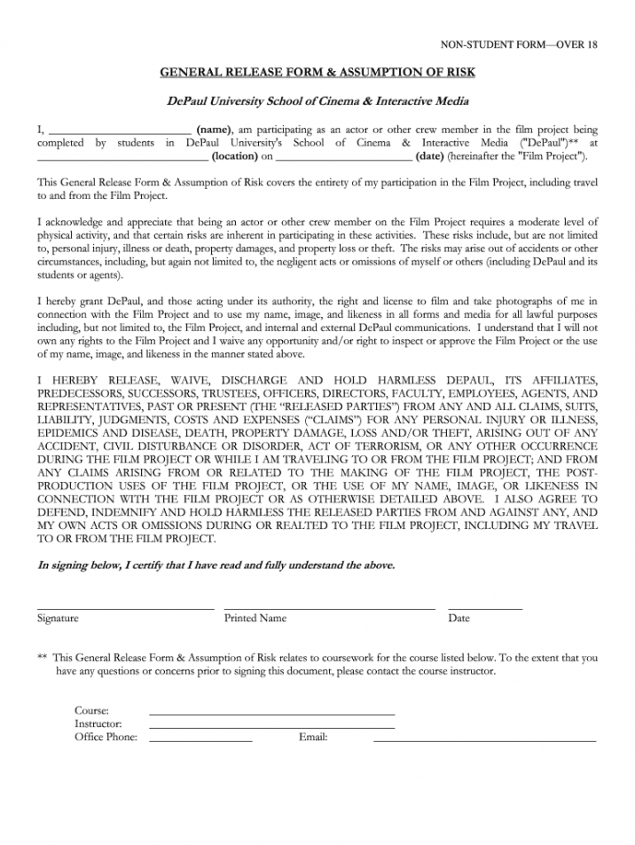 Costum Talent Release Form Template For Film Doc Sample