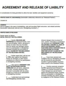 Editable Accident Liability Release Form Template  Sample