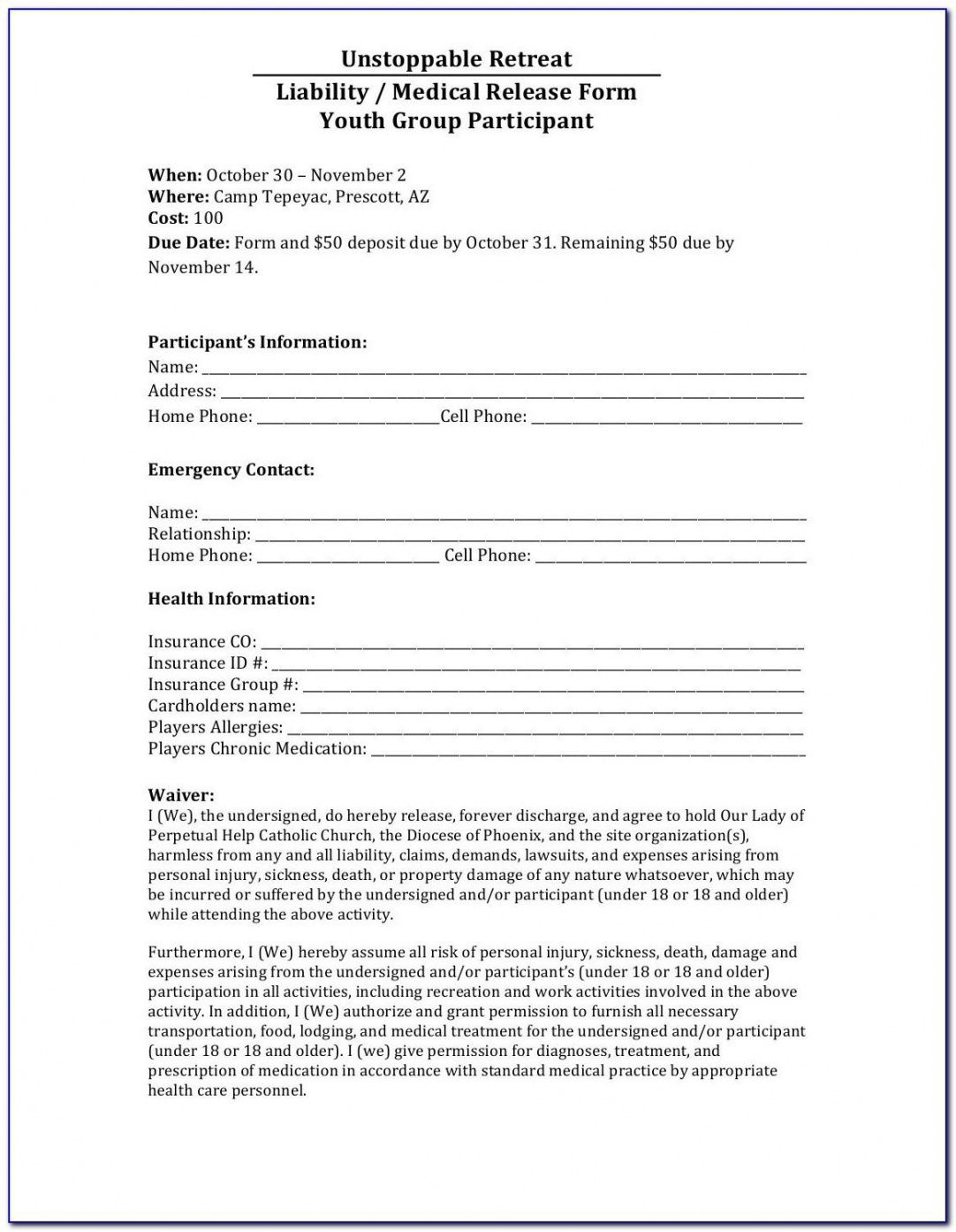 Editable Sports Release Of Liability Form Template Doc