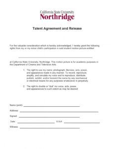 Editable Talent Release Form Template For Film Doc Sample