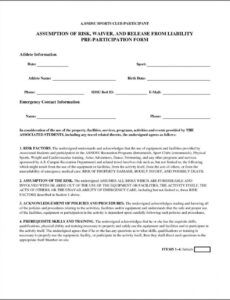 Free Accident Liability Release Form Template Doc Sample
