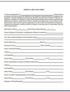 Free Hospital Release Forms Template Doc Sample