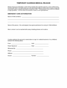 Printable Child Medical Release Form Template Doc