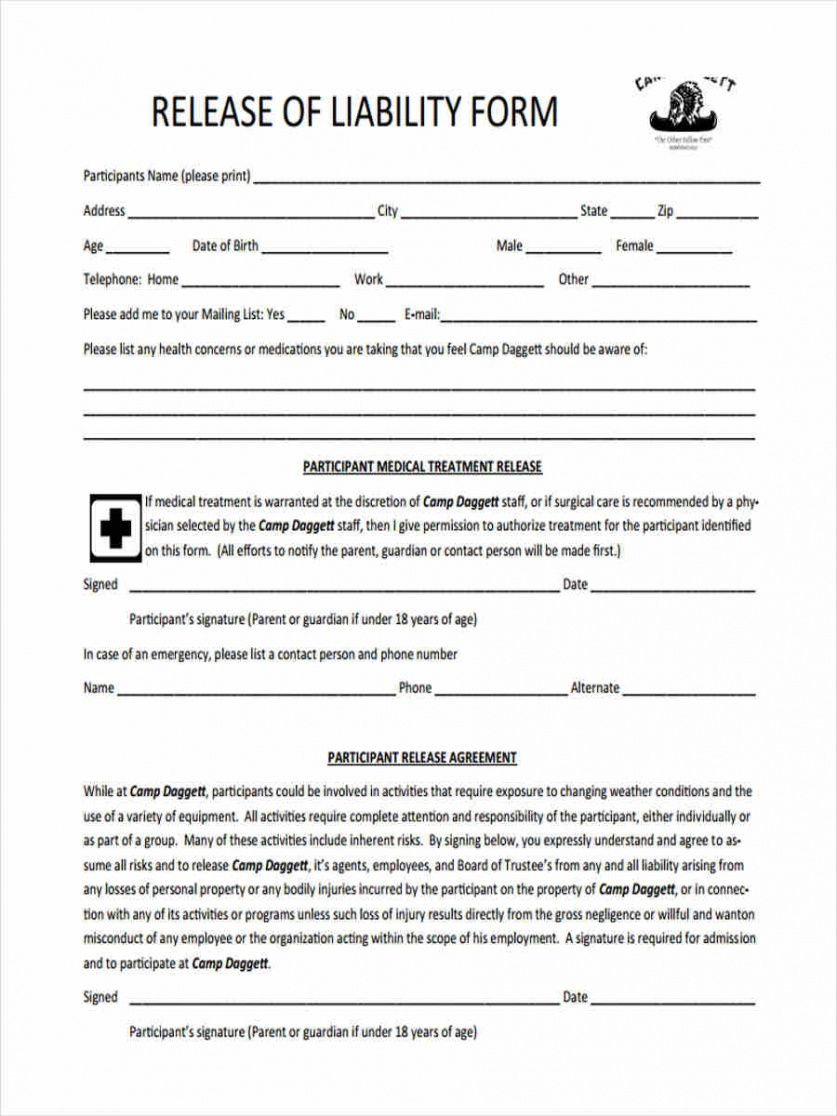 Printable Property Liability Release Form Template