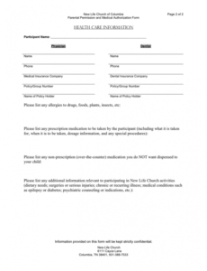 Professional Church Photo Release Form Template Excel Sample