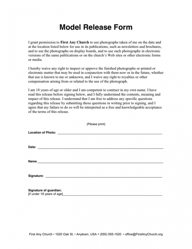 Professional Church Photo Release Form Template Pdf Sample