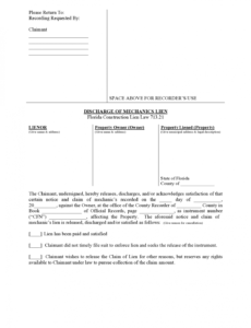 Professional Final Release Of Lien Template Doc Example