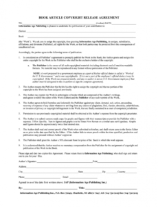 Professional Legal Release Form Template  Example