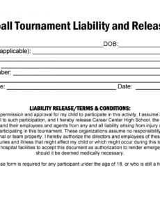 Professional Property Liability Release Form Template Excel