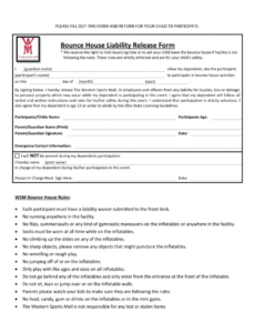 Sports Release Of Liability Form Template Doc Example